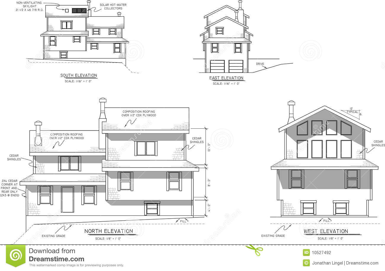 House plans elevation view stock photography image 10527492 for House plans for homes with a view