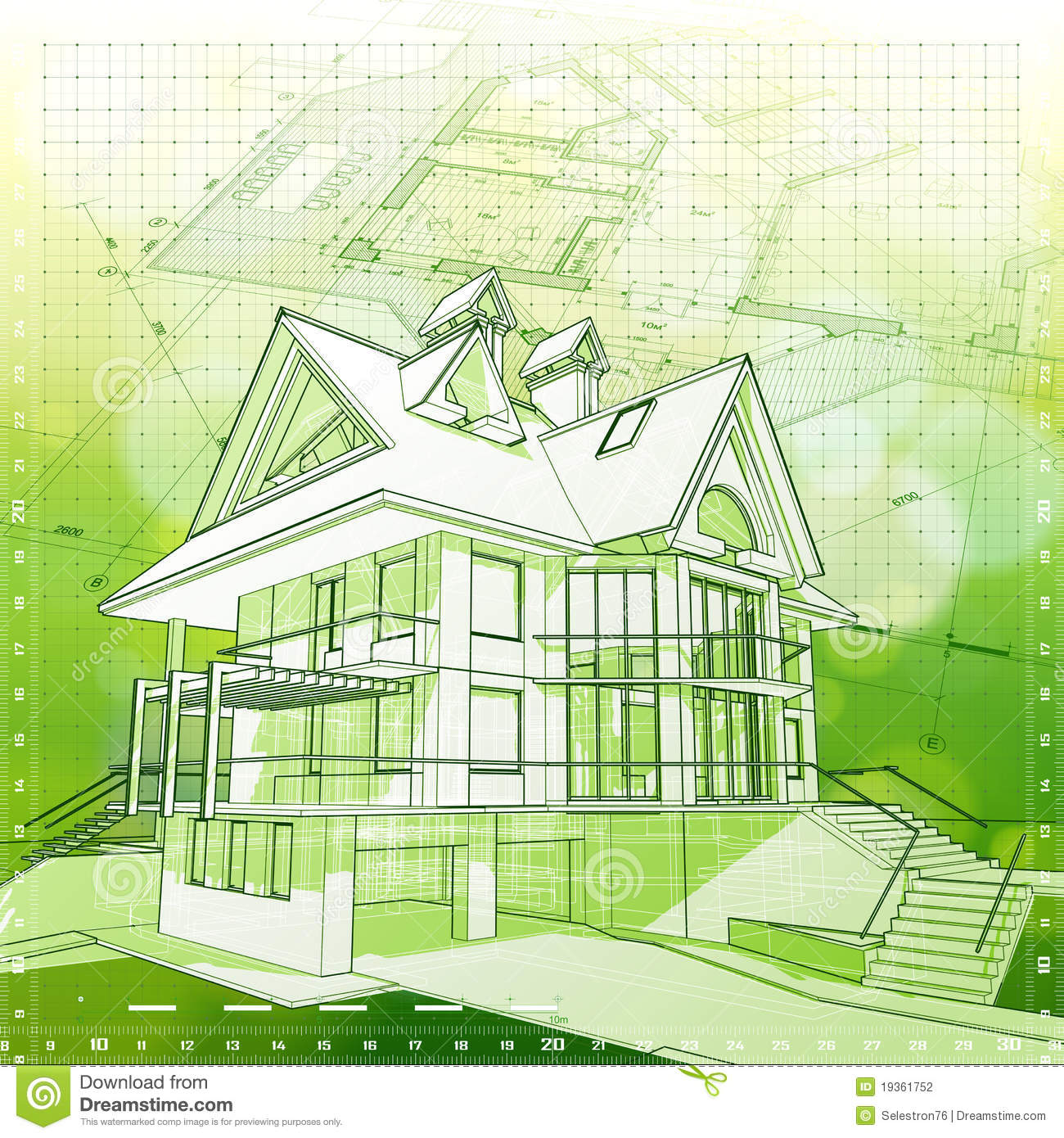 House plans green background stock vector image 19361752 for Blueprint house plans