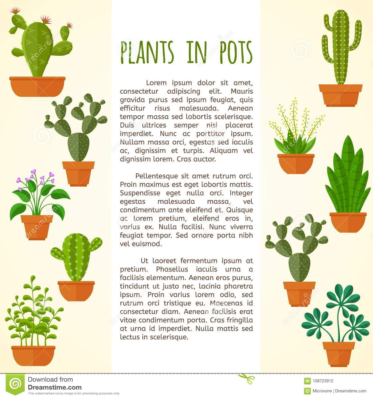 house plant and cactus vector brochure page template stock vector