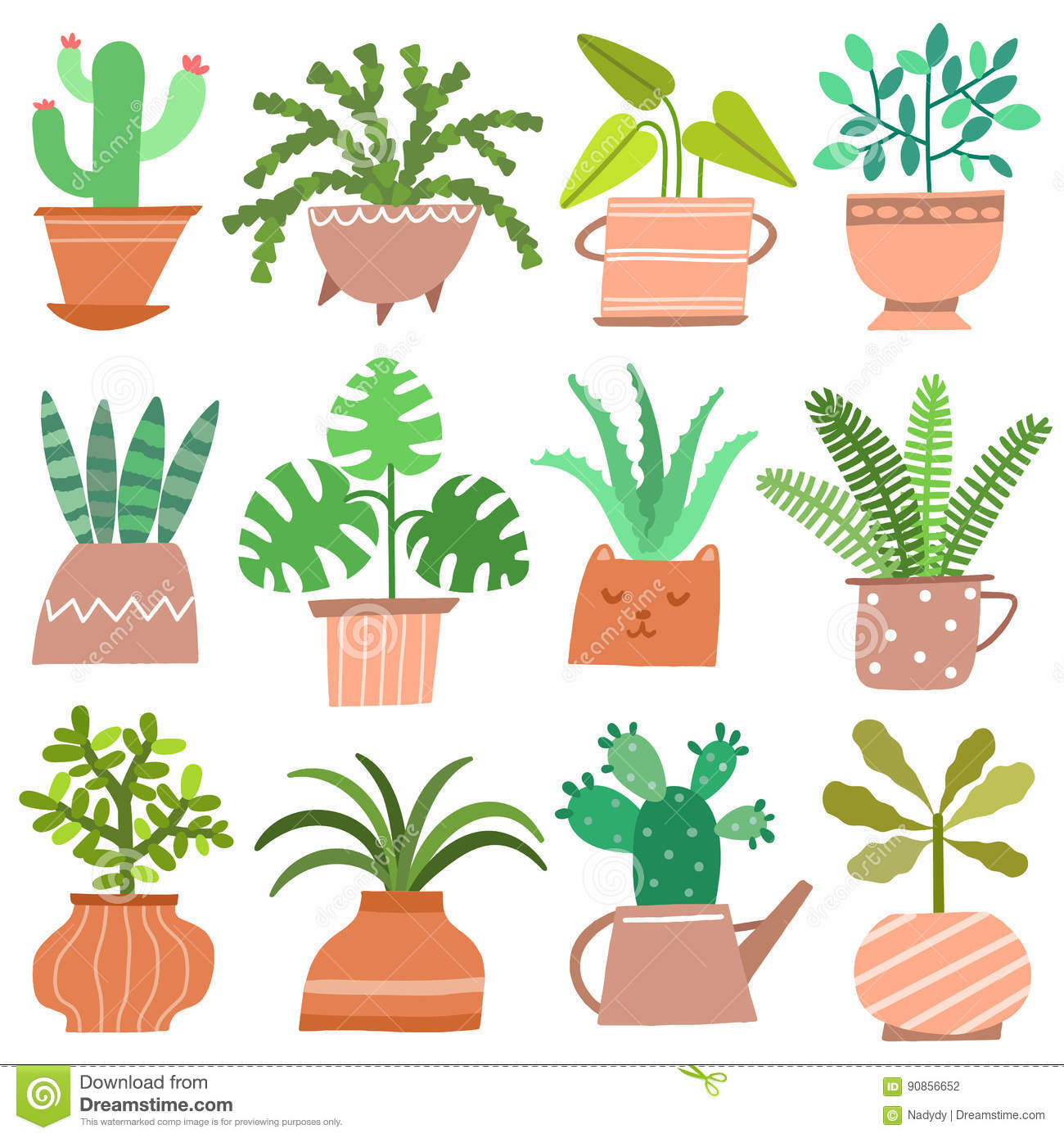 House Plant Vector Icon Set Cute Flowers In Pots Isolated On White Stock Vector Illustration Of Floral Green 90856652