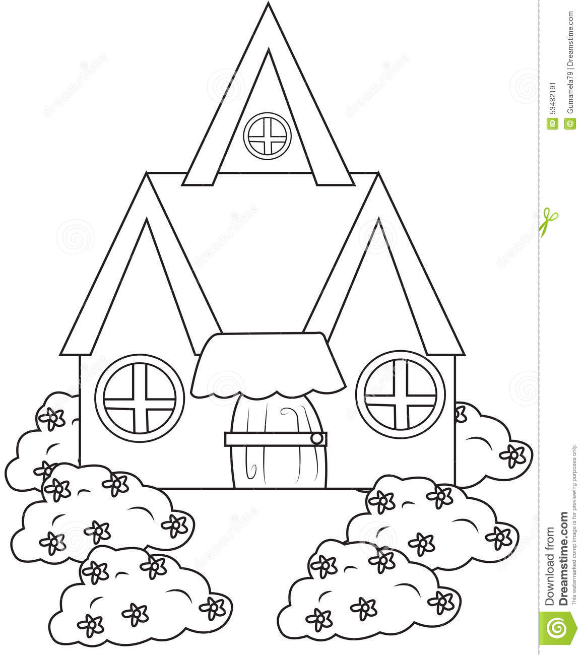 house with plants coloring page stock illustration image 53482191