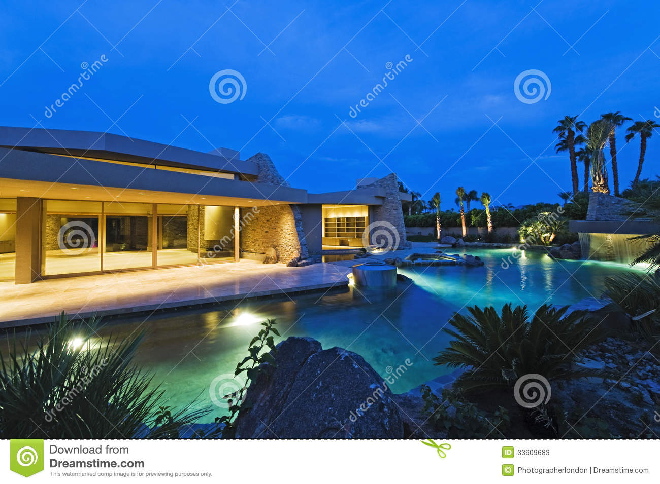 House With Pool In Backyard At Dusk Stock Image Image