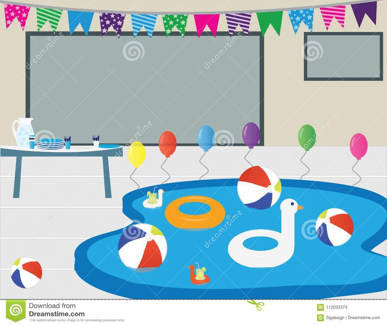 House Pool Party Decorations And Food Stock Vector Illustration Of - Inflatable picnic table