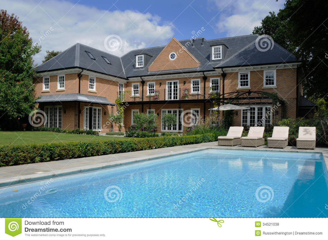 House with pool stock photo image of roof residentual for Garden pool house