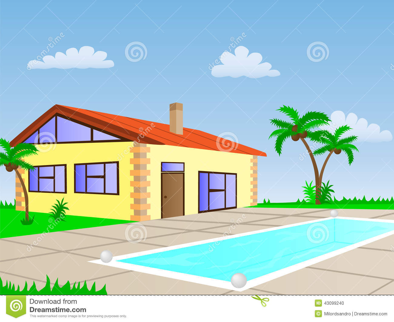 House with pool stock vector illustration of construction for Construction pool house piscine