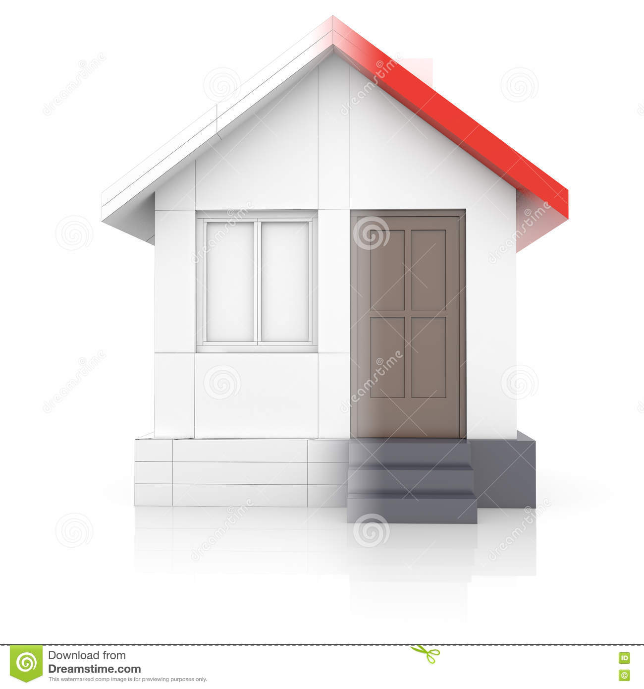 House Project  Drawing Turns Into 3d Model Stock