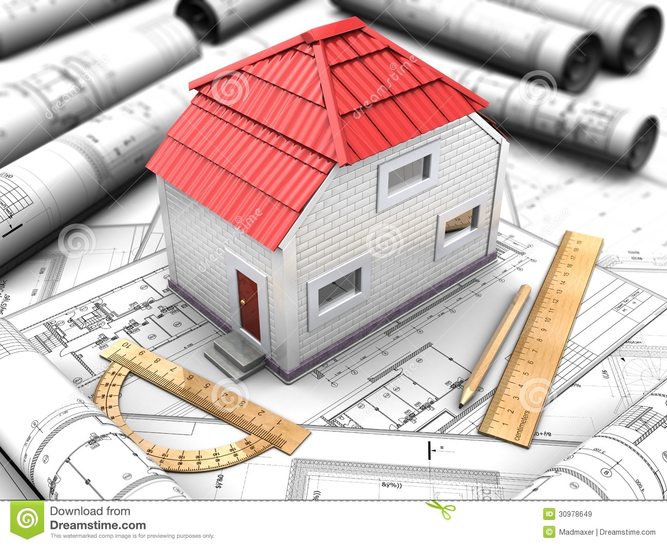 House project with model red roof royalty free stock for House project online