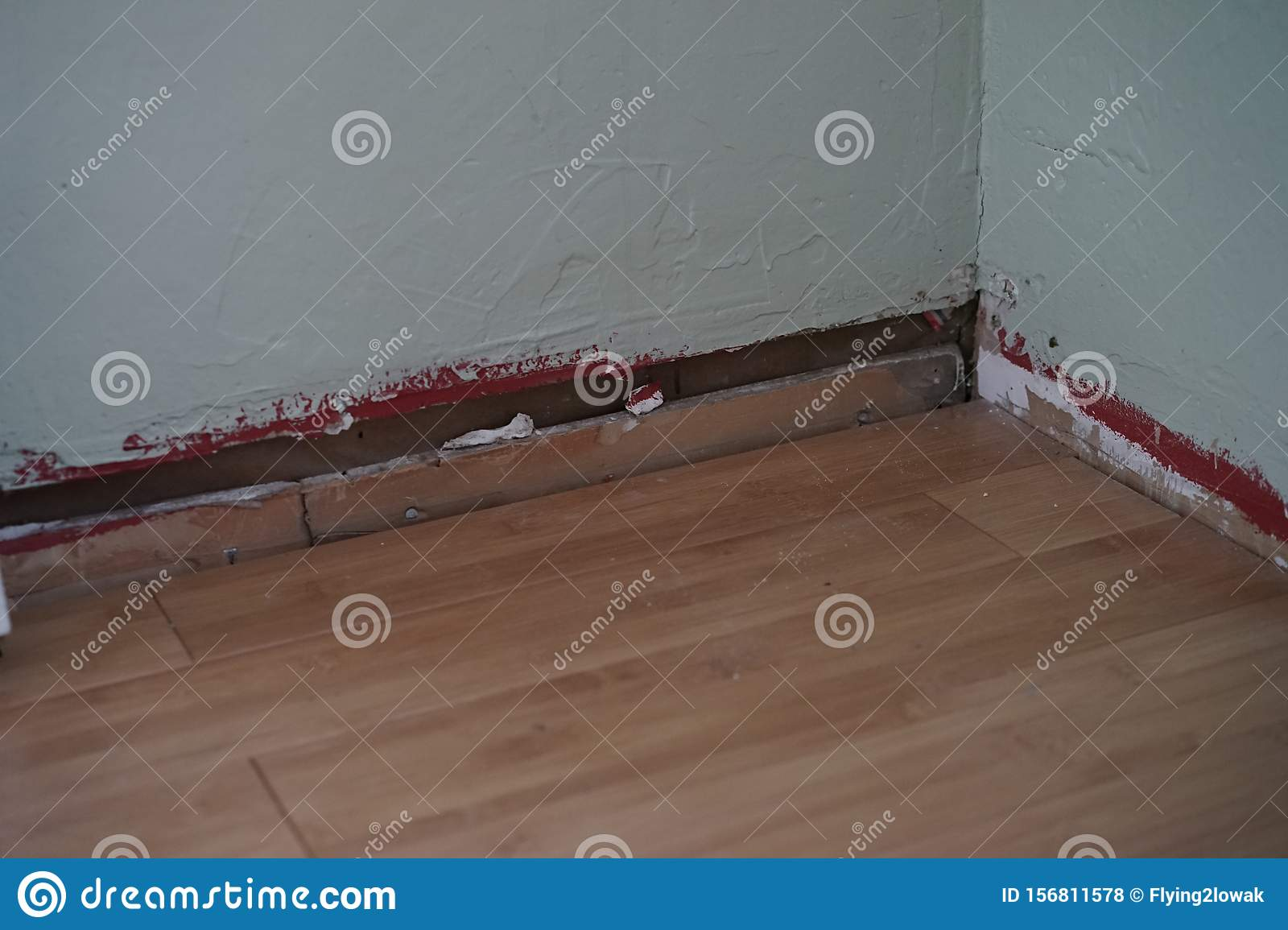 Wall And Floor With No Trim Attached To Wall Stock Photo Image Of Angles Build 156811578