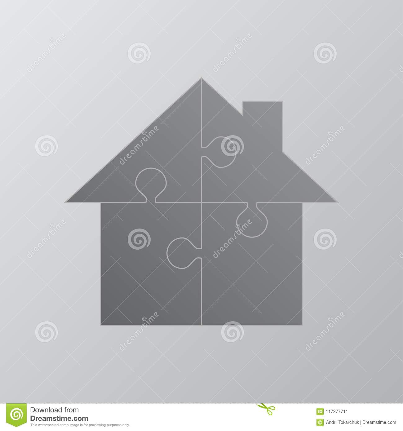 House Puzzle 4 Pieces. Puzzle Renting, Leasing. Stock Illustration ...