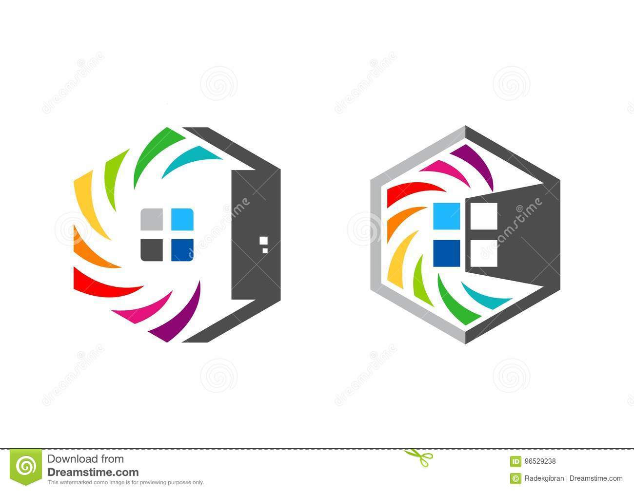 House real estate hexagon home logo set of rainbow colorize house real estate hexagon home logo set of rainbow colorize building symbol icon vector design biocorpaavc Image collections
