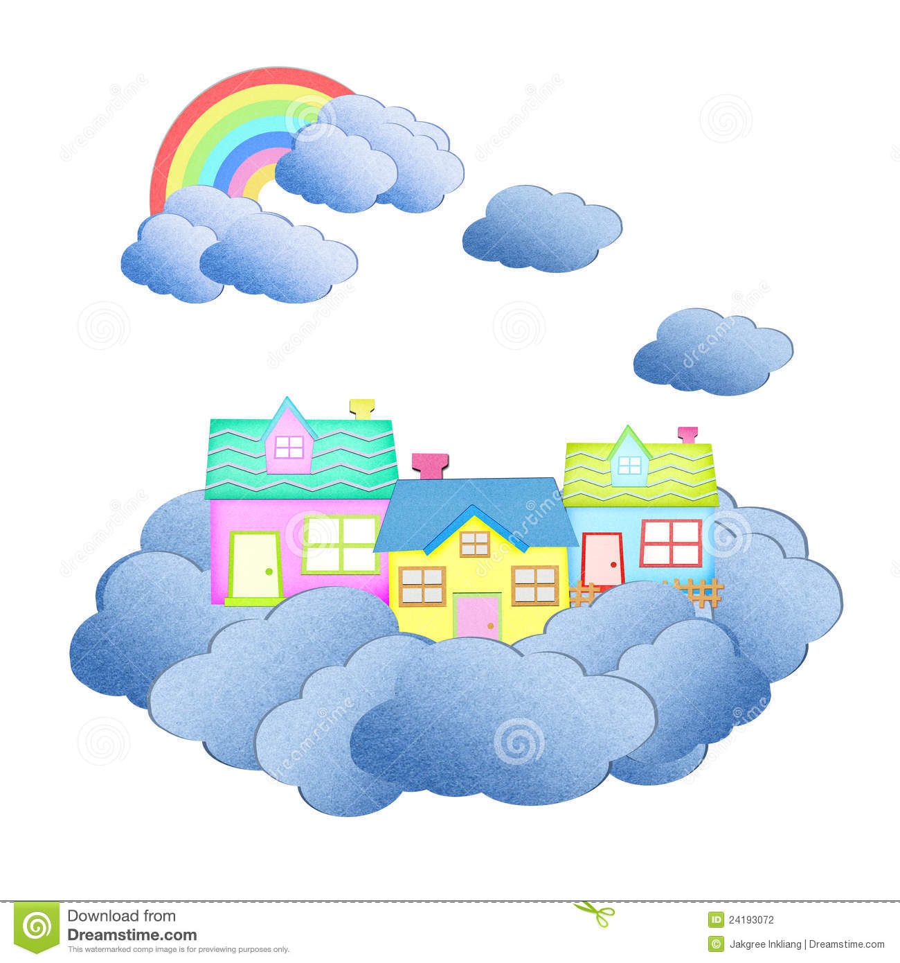 House from recycle paper on a cloud stock photography for How to make a paper cloud