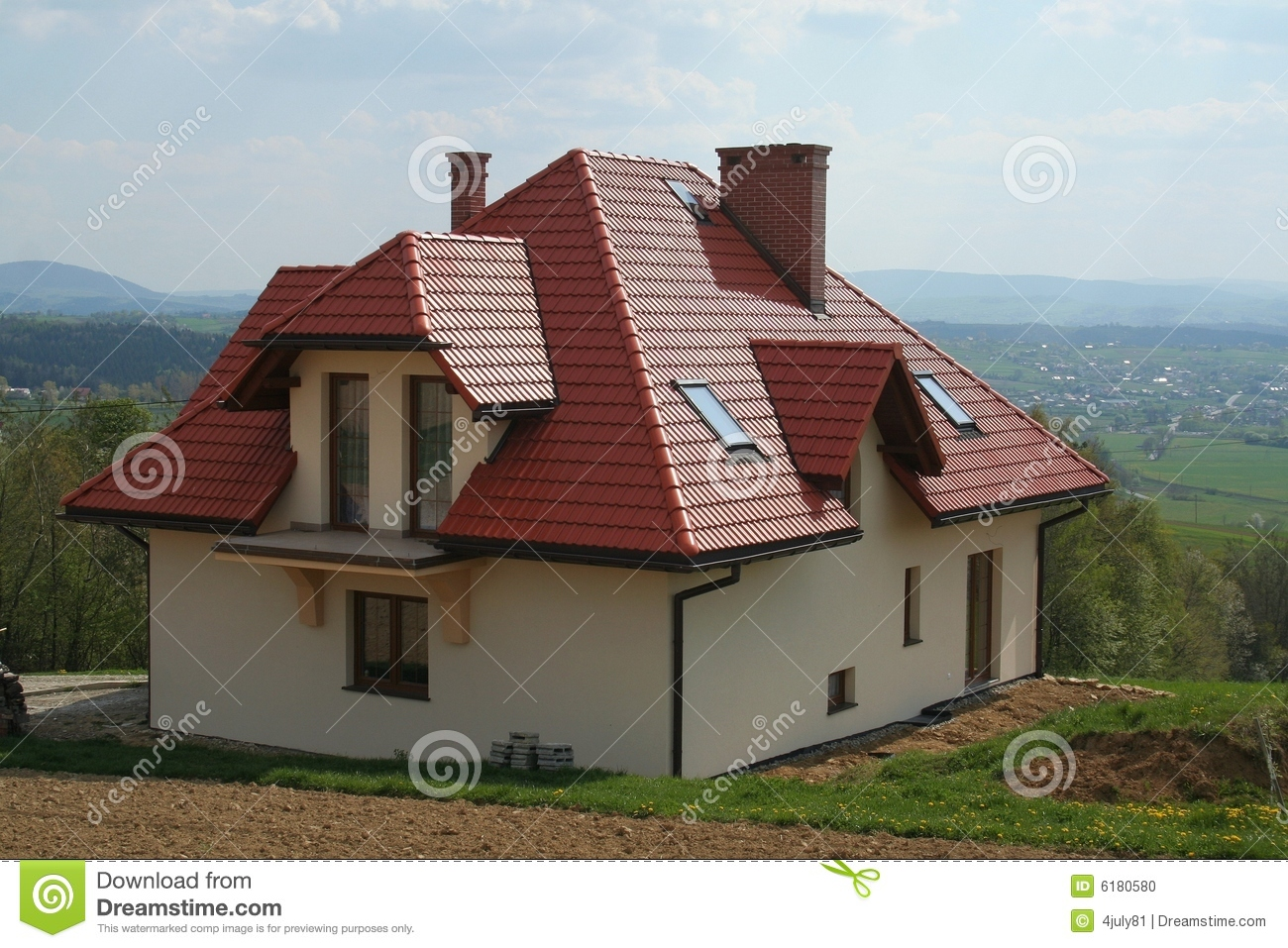 House With Red Roof Stock Photo Image Of Village Grass