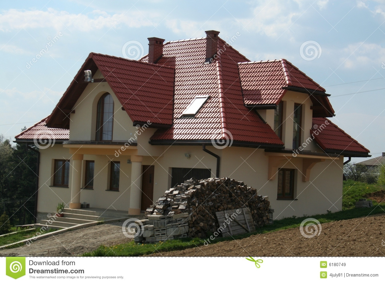House With Red Roof Stock Image Image Of House Trees