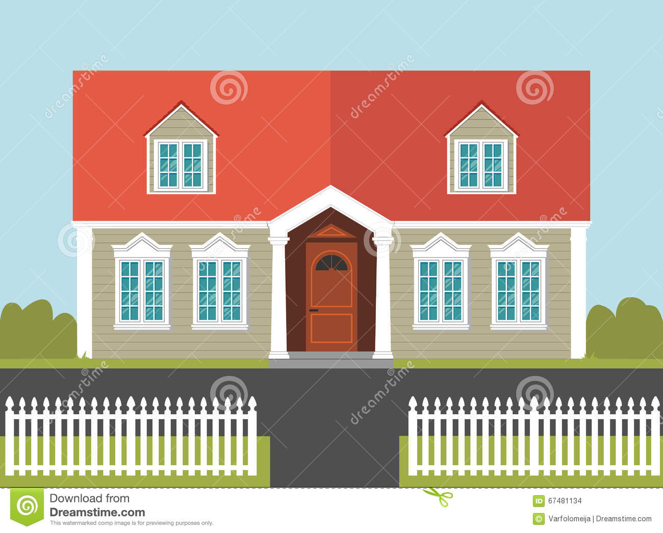 House with a red roof and white fence stock vector image 67481134 - Houses attic families children ...