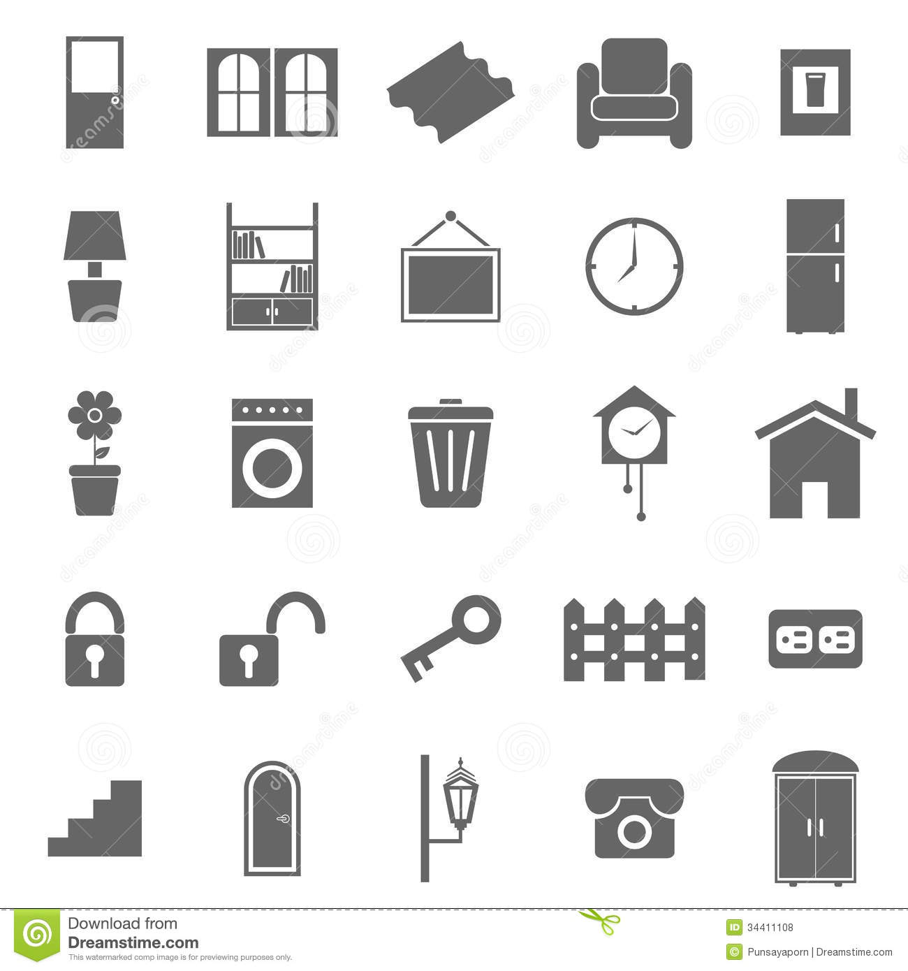 House Related Icons On White Background Royalty Free Stock