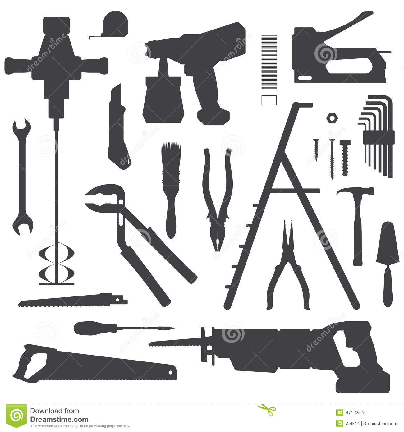 House remodel instruments silhouette set stock vector for House remodeling tools