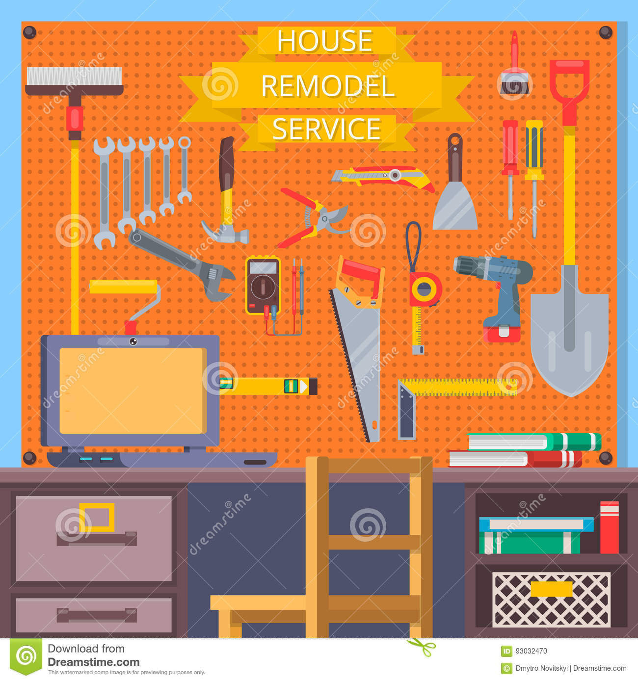 House remodel tools construction concept with flat icons for House remodeling tools