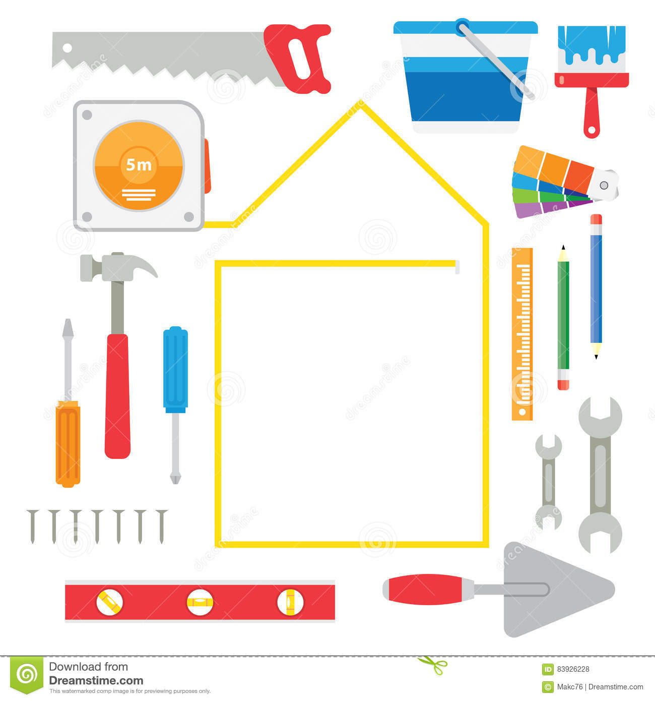 Remodel construction building spatula icon royalty free for House remodeling tools