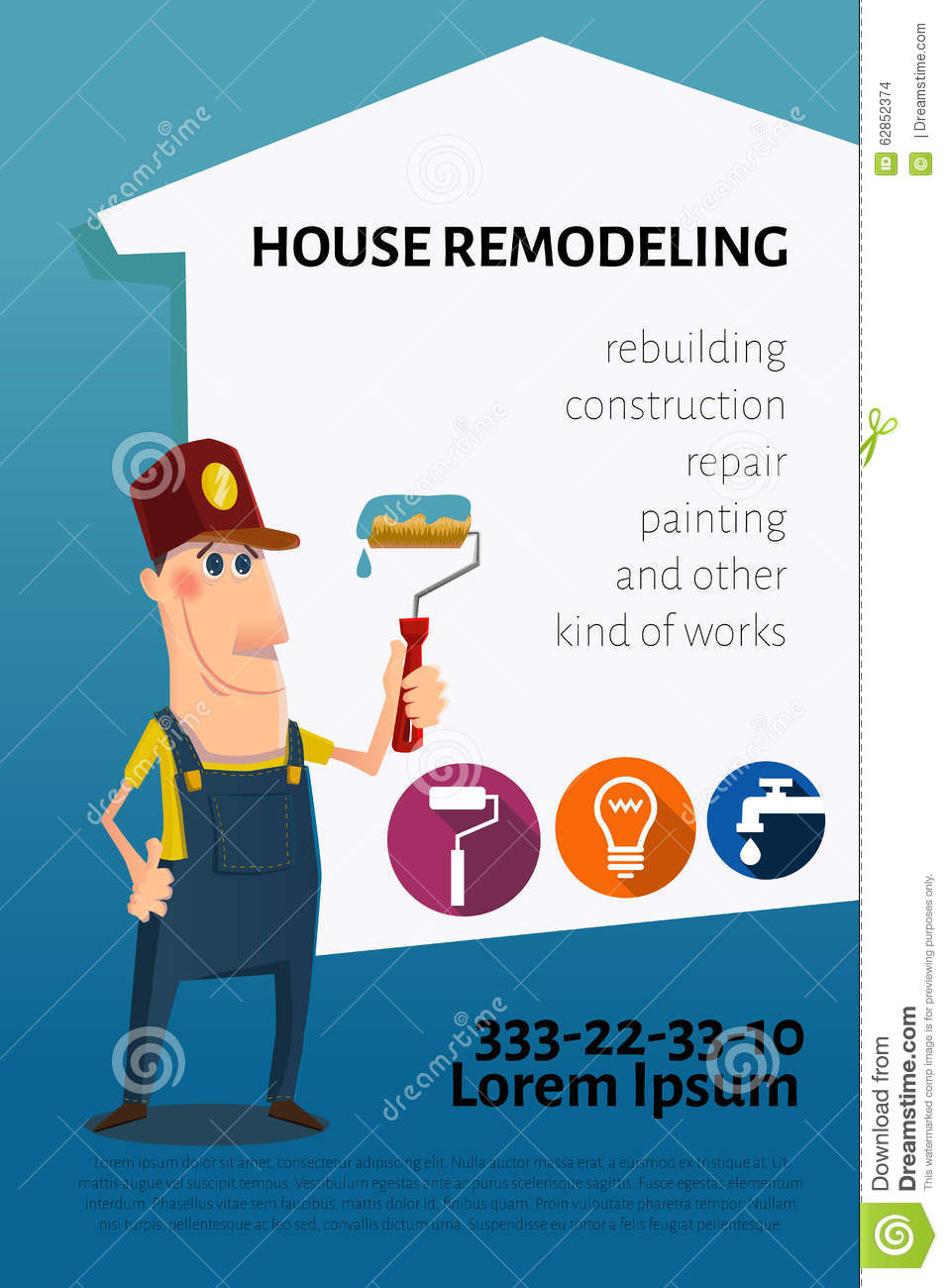 House Remodeling Business Card Or Banner Stock Vector
