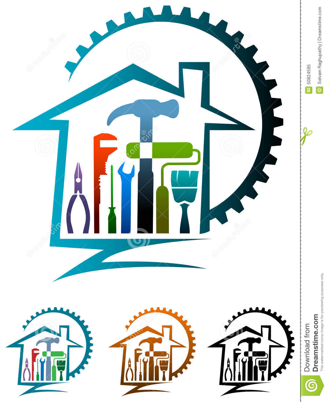 download house renovation logo stock vector illustration of laborer 50824595