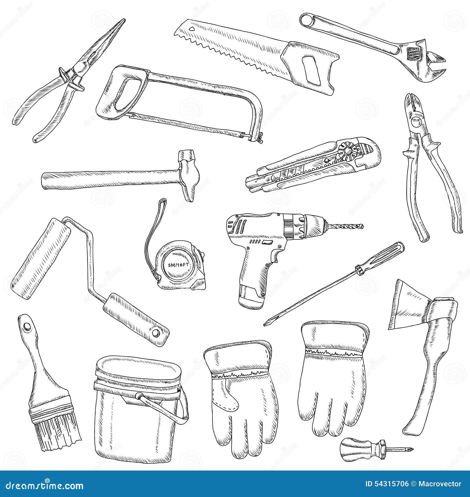 house renovation tools set black outline stock vector