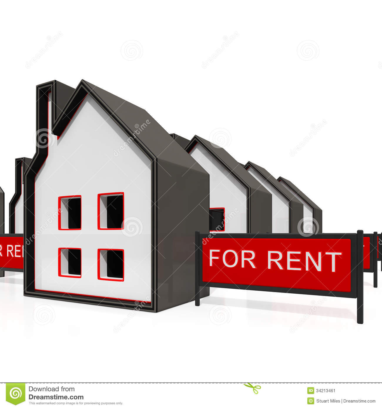 For Rental: House For Rent Sign Shows Rental Stock Illustration