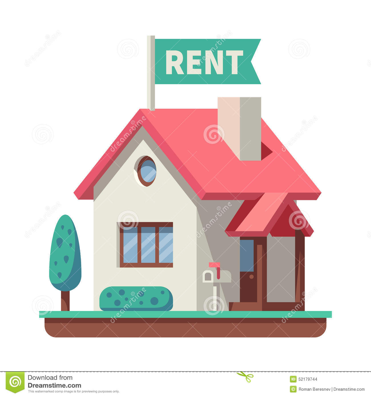 Apartment House For Rent: House For Rent Stock Vector. Illustration Of Graphic