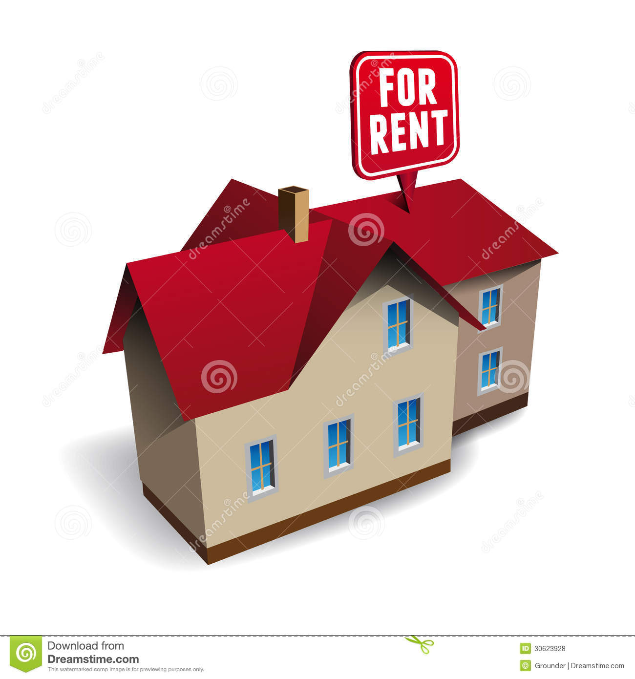 Free Houses For Rent: House For Rent Vector Stock Vector. Image Of Button