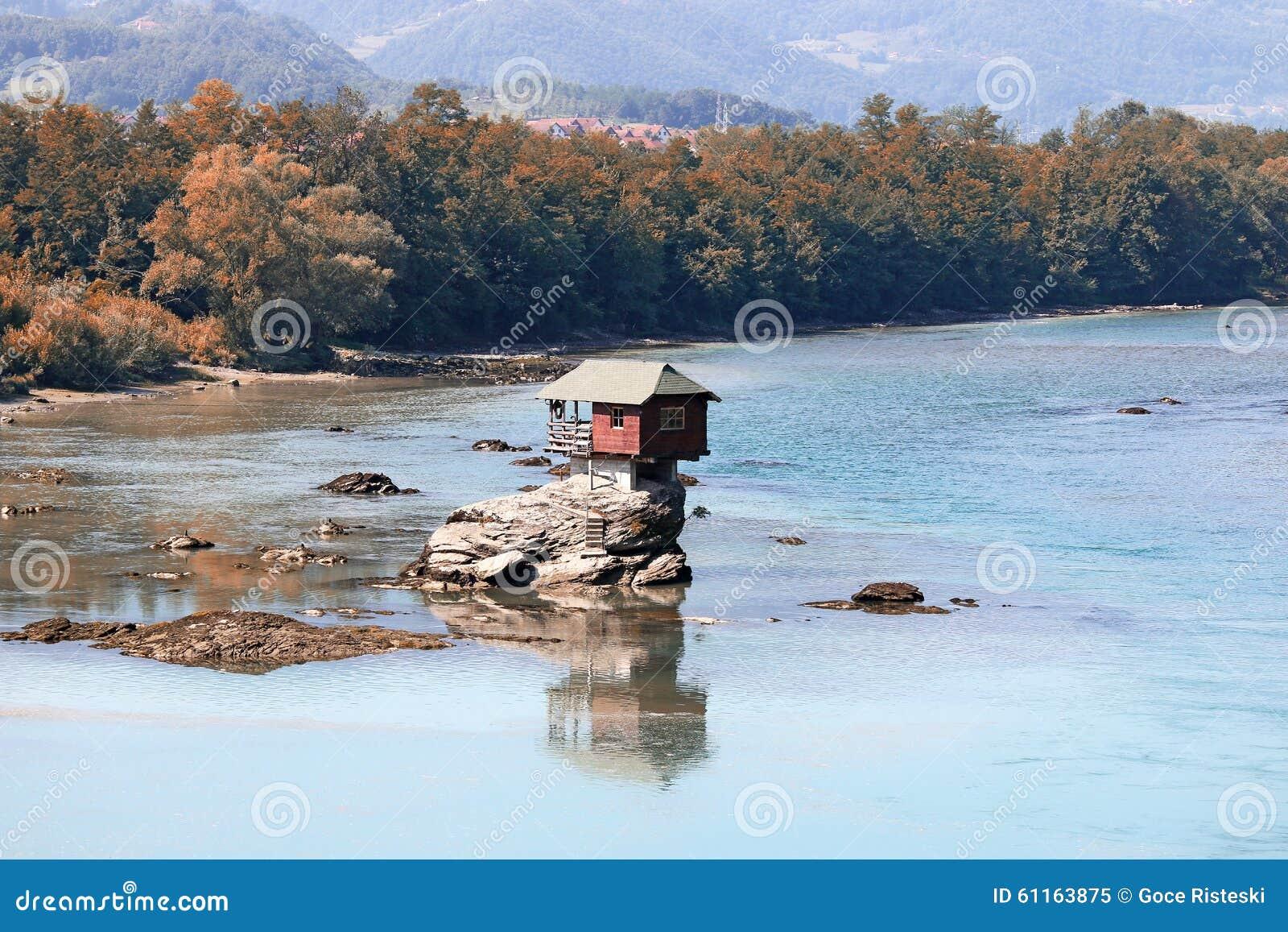 House On Rock Drina River Landscape Stock Photo Image