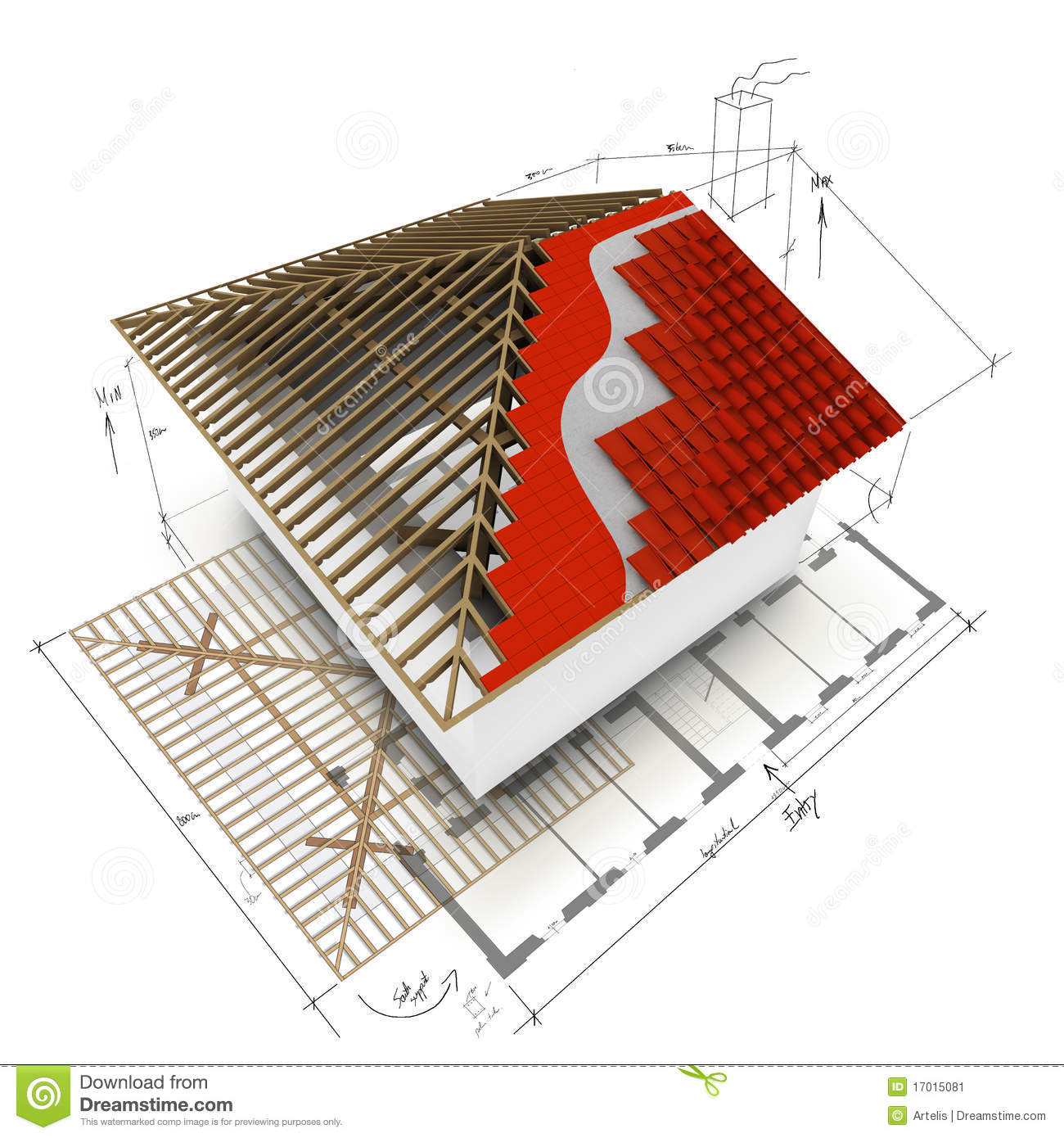 House Roof 3d Design Stock Image Image 17015081