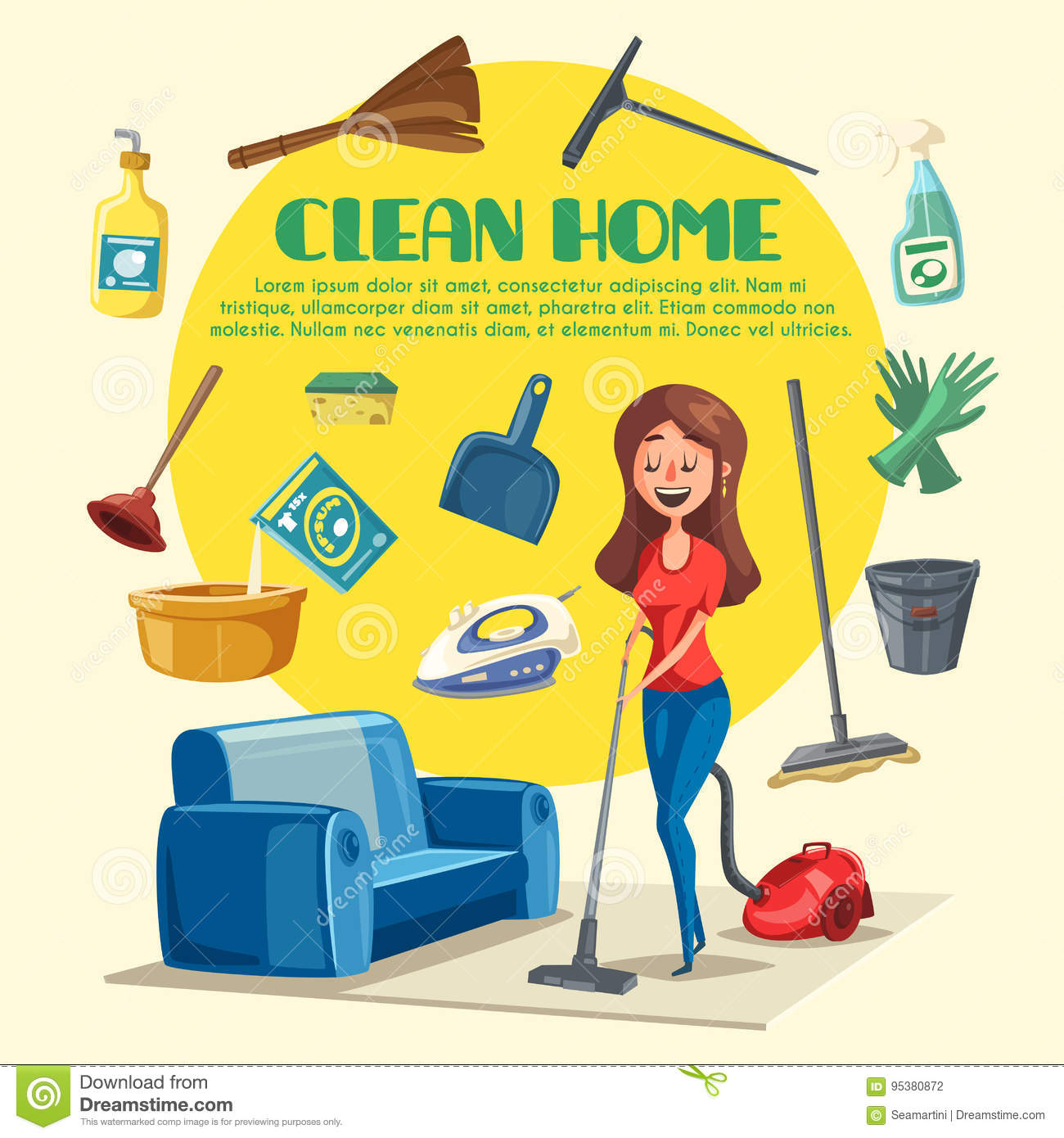 House Or Room Cleaning Vector Poster Stock Image