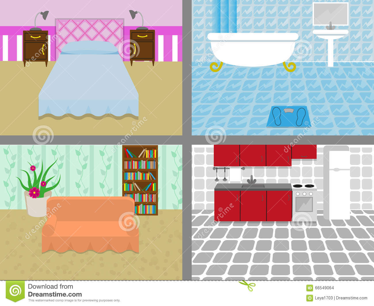 living room bedroom bathroom kitchen a house with rooms stock vector illustration of wallpaper 18975