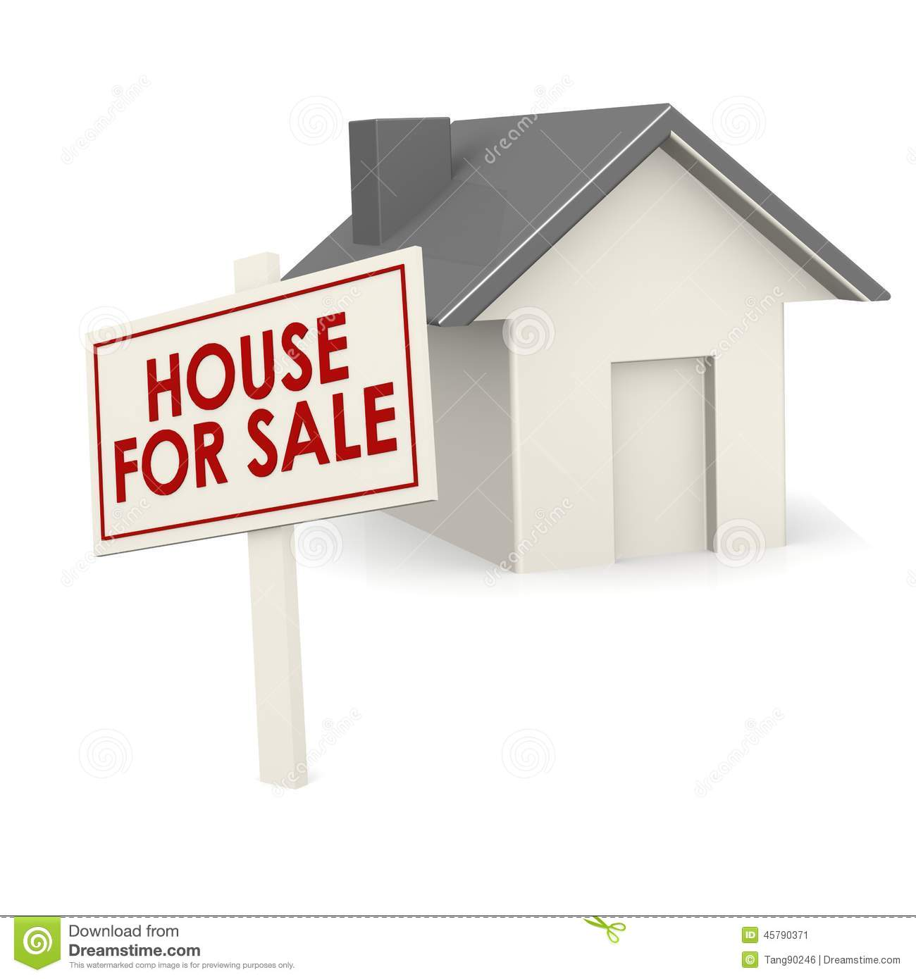 House for sale banner with house stock illustration for Housse for sale