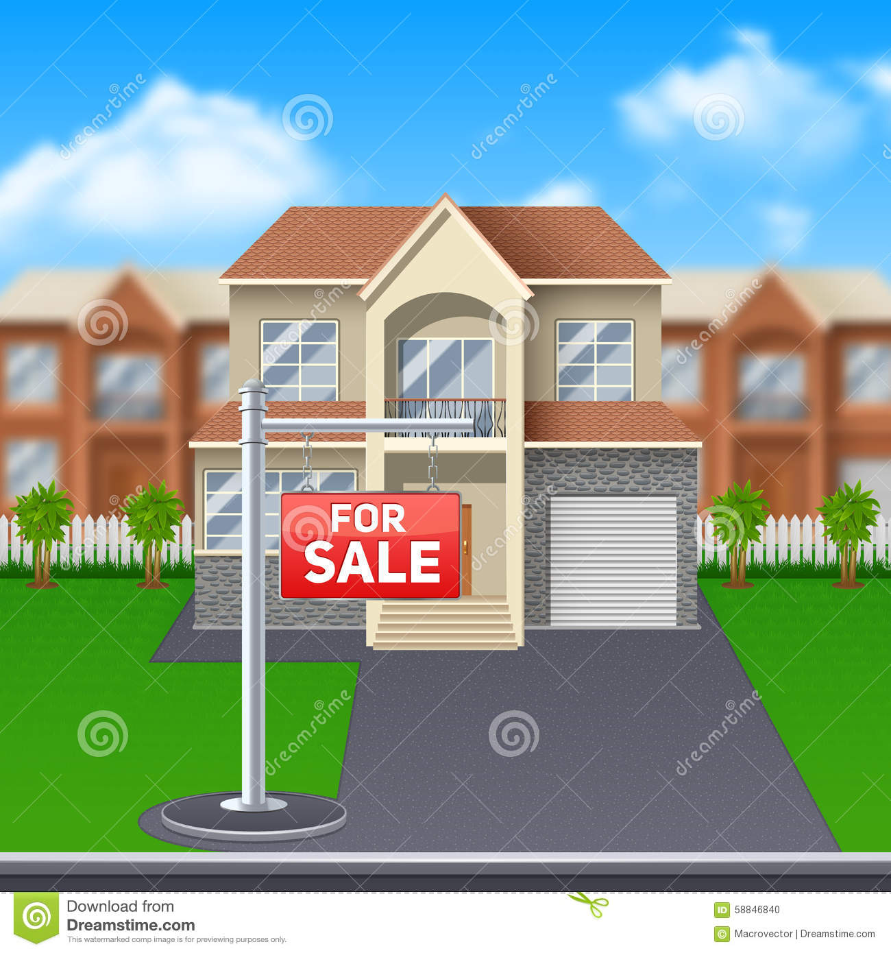 House For Sale Illustration Stock Vector Image - Big cartoon house