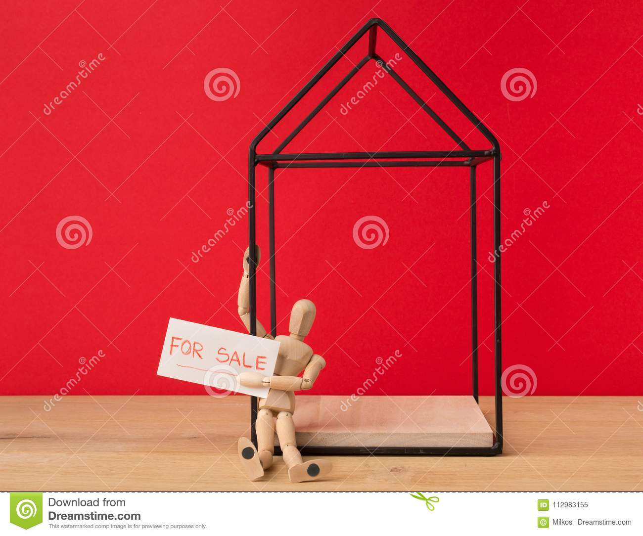 House For Sale From Owner On Red Background Stock Image