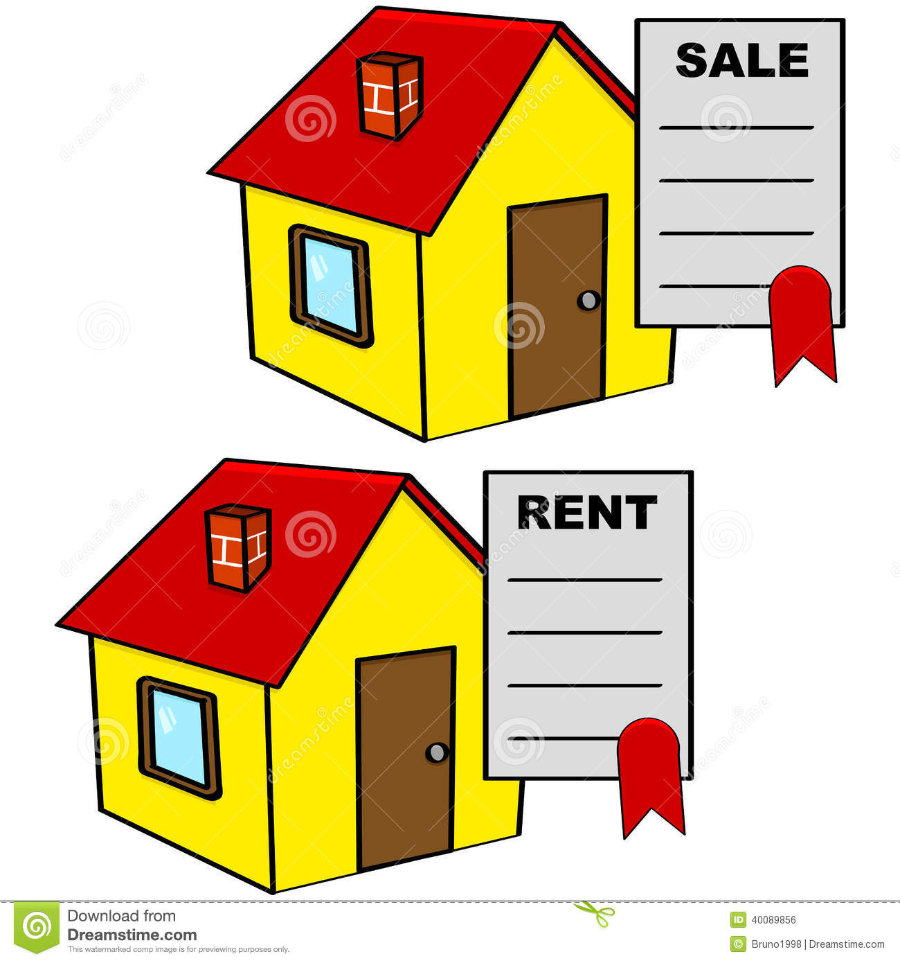 House For Rent Clip Art: House For Sale And For Rent Stock Illustration