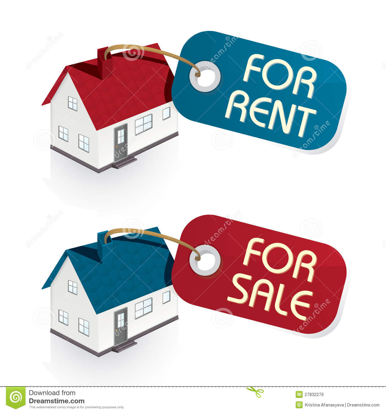 Free Houses For Rent: House For Sale And For Rent Tags Stock Illustration