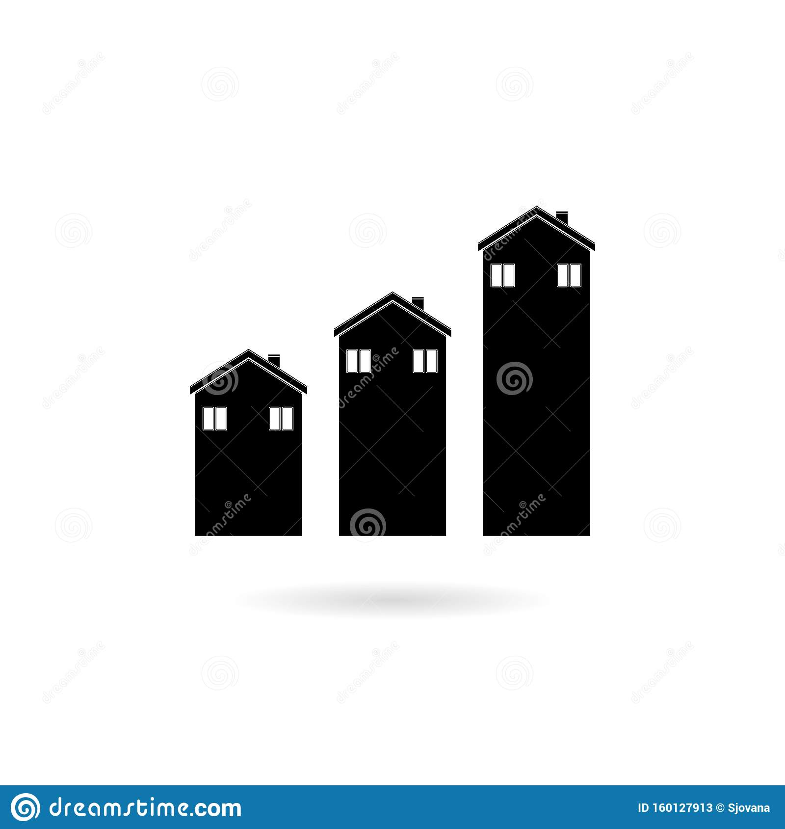 House Sales Or Value Bar Chart Symbol Icon With Arrow