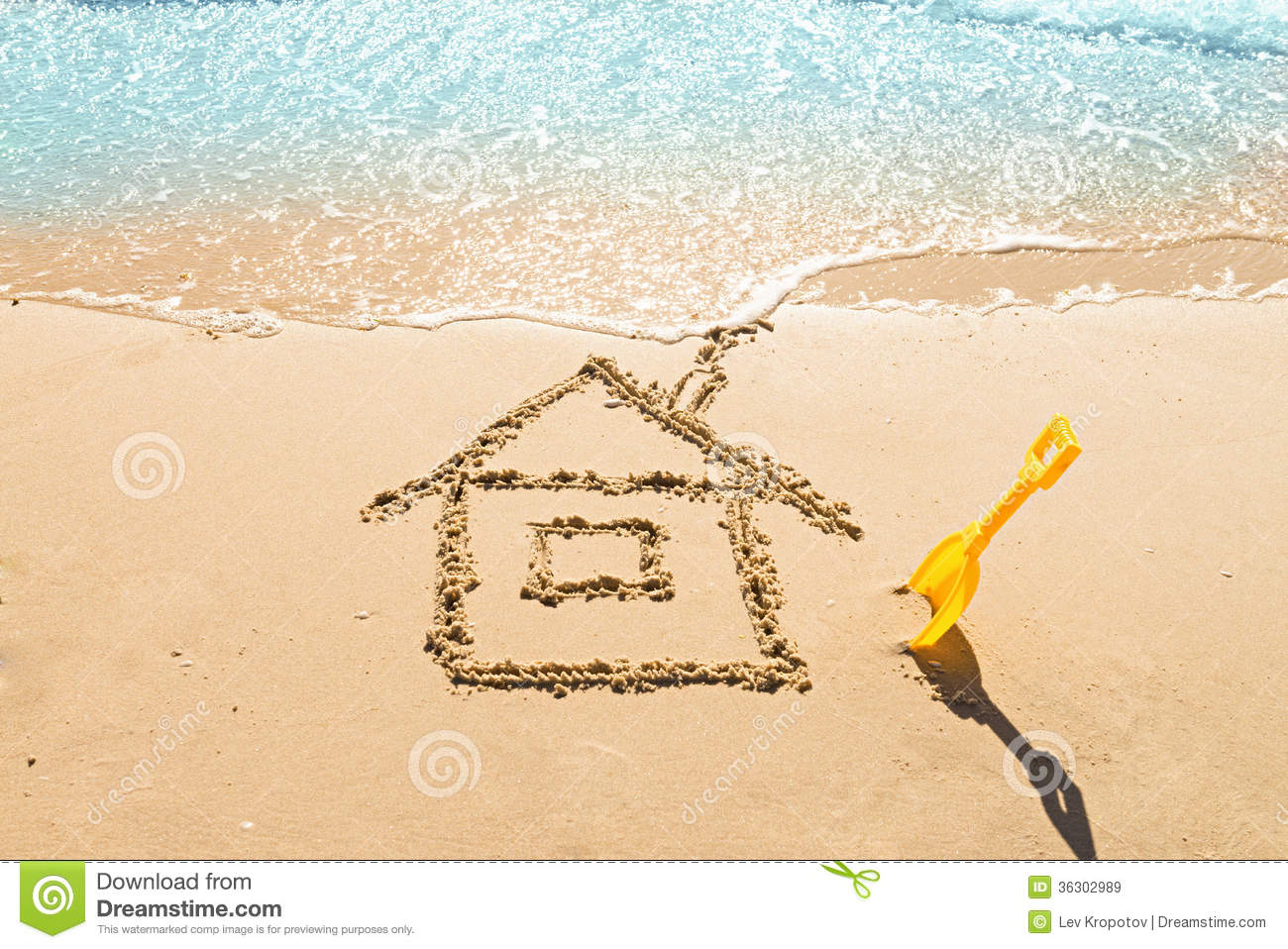 House on the sand royalty free stock images image 36302989 for Beach house drawing