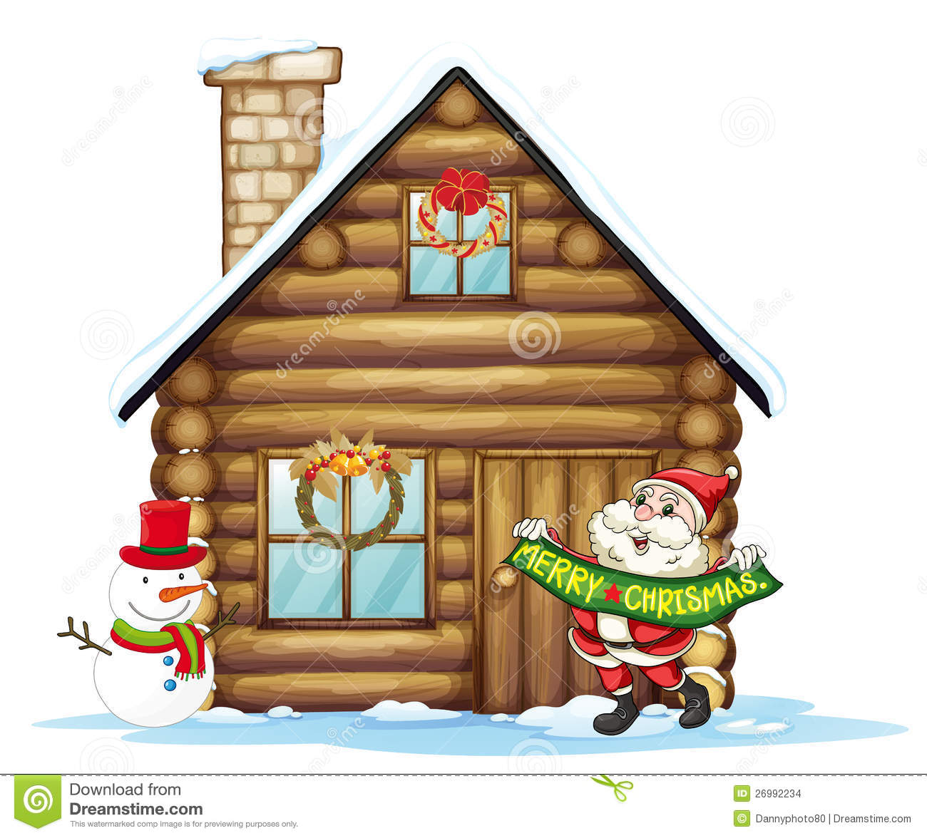 Illustration of house and santa claus on a white background.