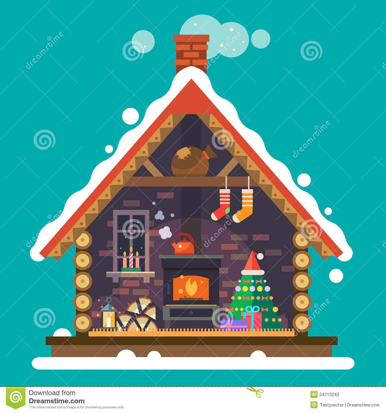 House of santa claus stock vector image of bells room for Christmas house inside decorations