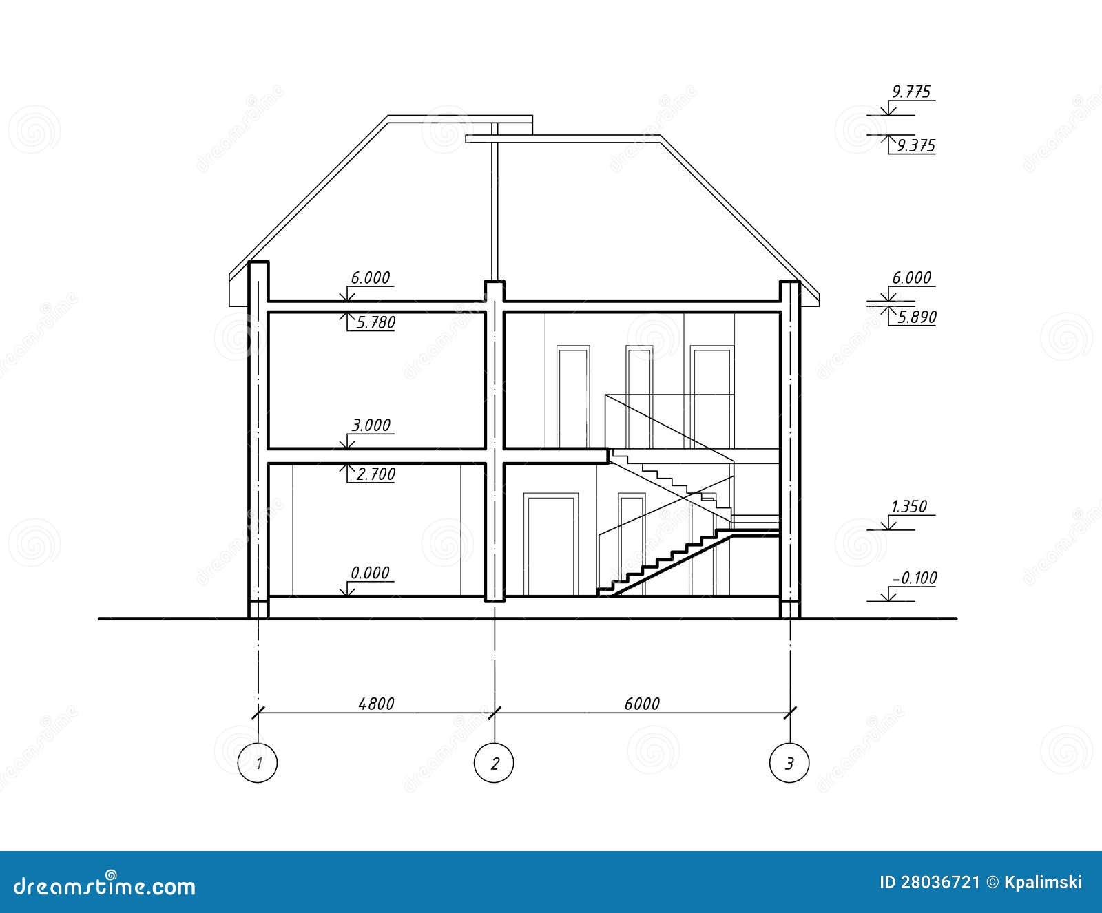 House section stock illustration illustration of building for Cad blueprints