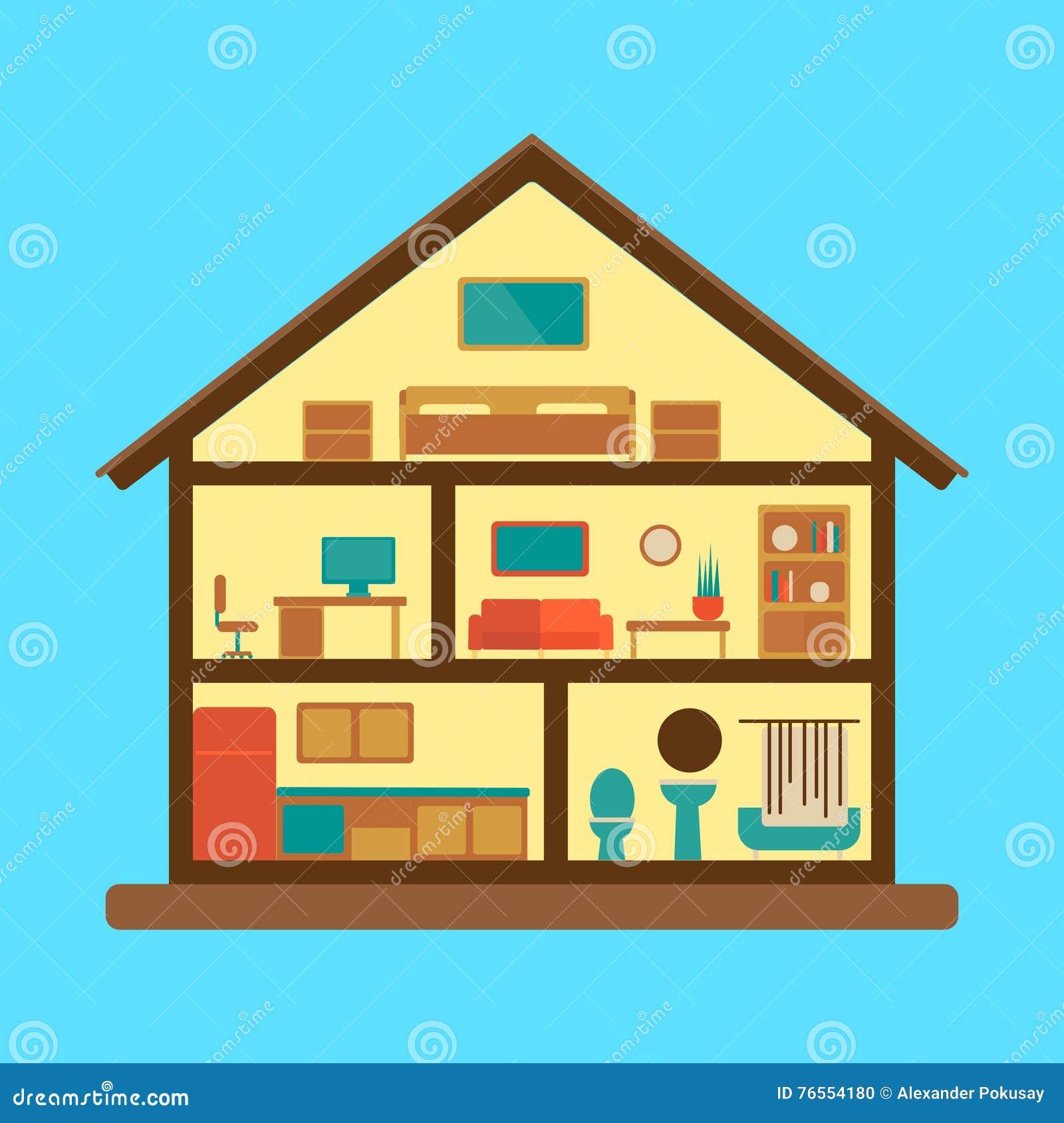 House Blueprint Icon Flat Style Vector Illustration Cartoondealer Com