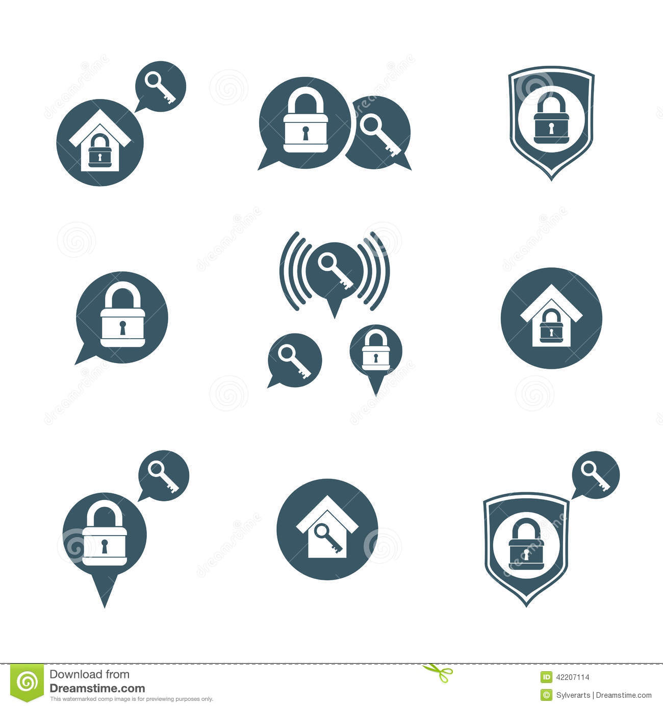 House Security Protection Vector Icons Set Home House Padlock