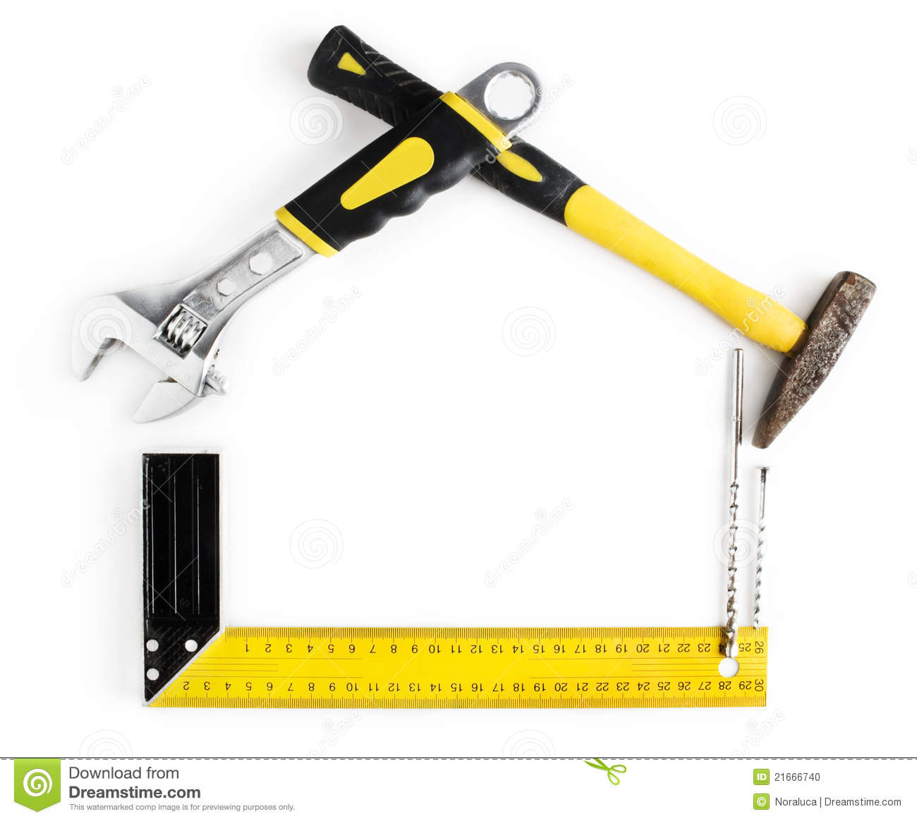 house shaped frame made by tools stock photo