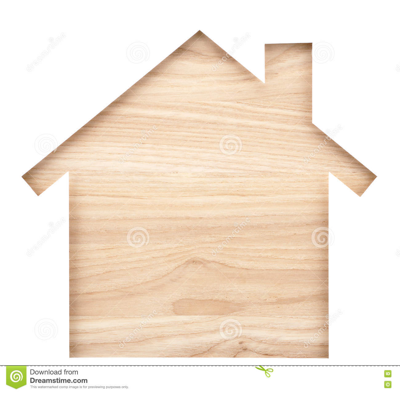 House shaped paper cutout on natural wood lumber.