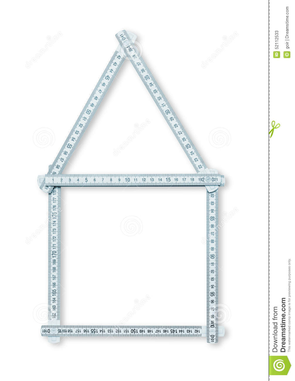 House shaped ruler stock photo image 52112533 for Business cards shaped like a house