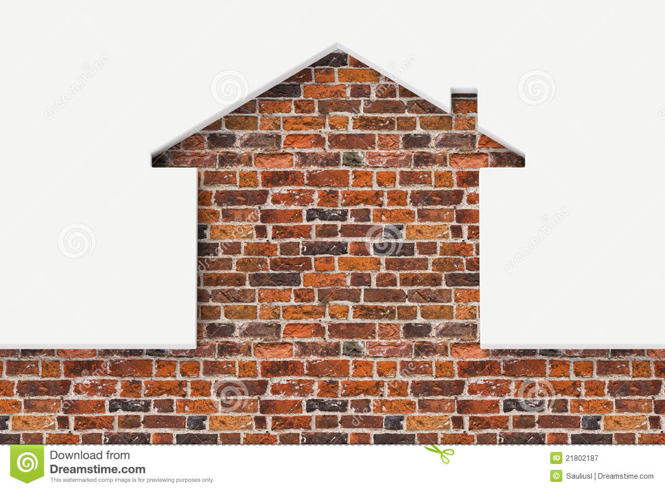House Shaped White Wall With Bricks Behind Royalty Free