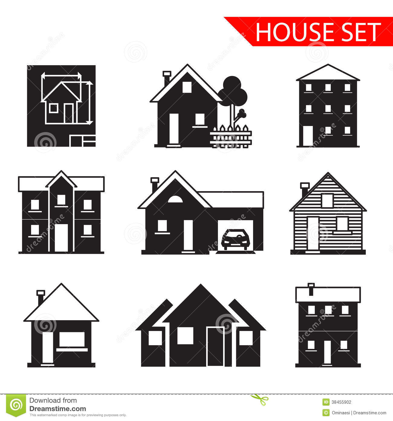 House Silhouette Icons Set Isolated Vector Stock