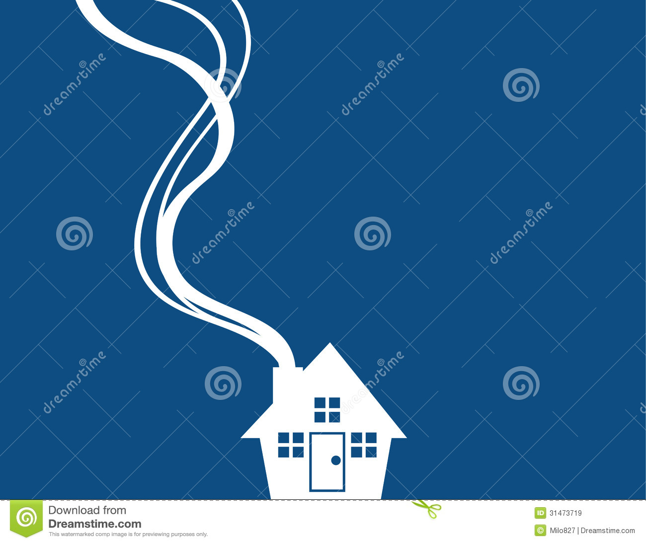 House Silhouette Minimal Blue Stock Vector - Illustration of